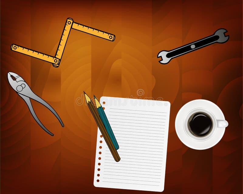 承包商概念背景 顶视图 印刷术的地方 图纸和承包商工具和设备在木桌上 皇族释放例证