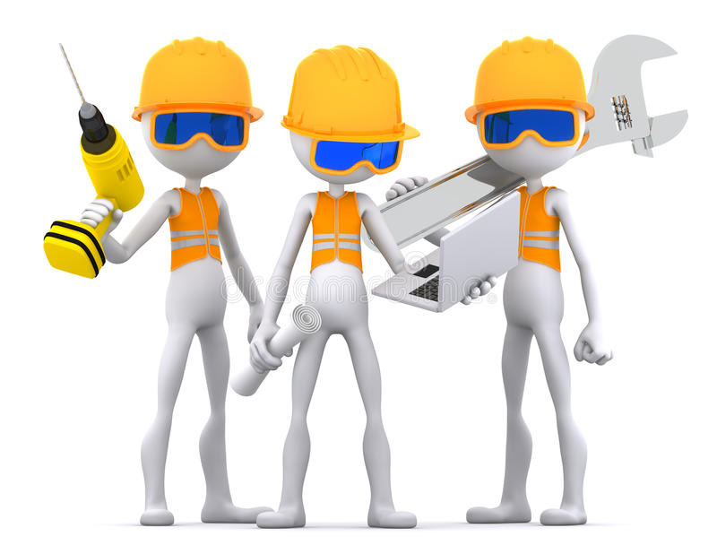 承包商行业小组工作者 皇族释放例证