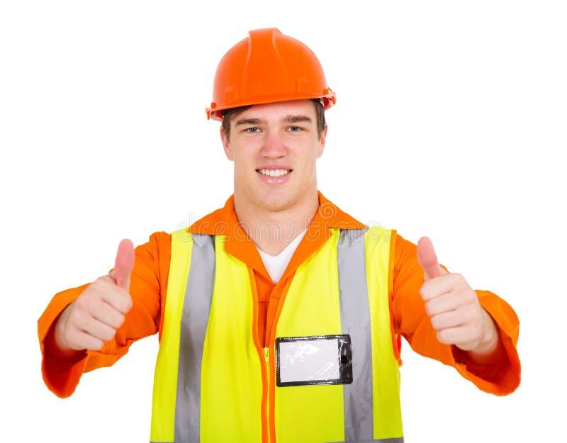 年轻承包商赞许 免版税库存照片