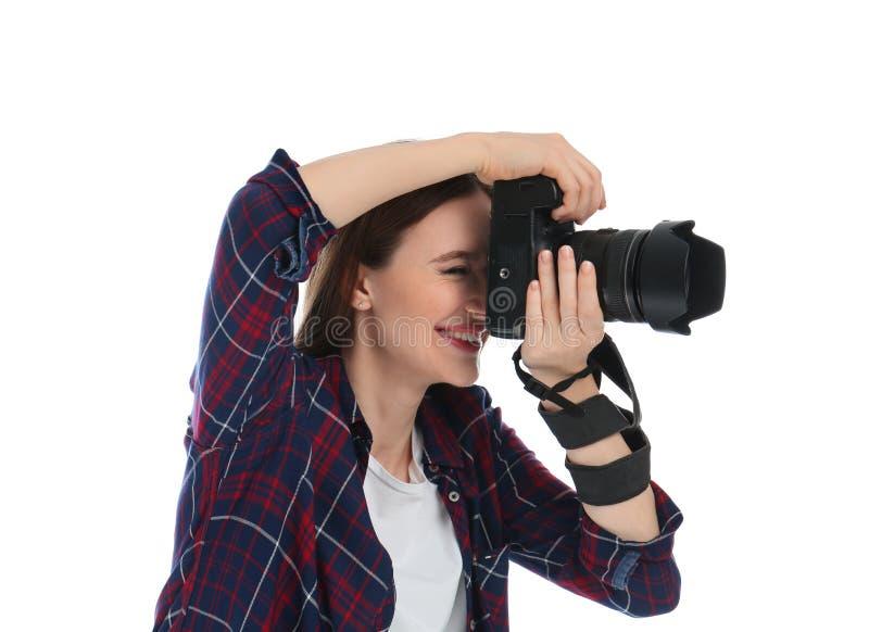 承担白色背景的专业摄影师 免版税库存照片