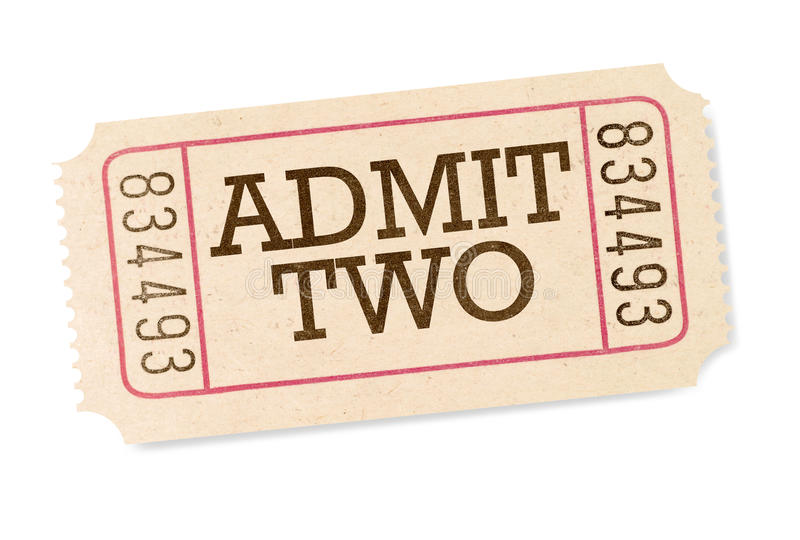承认在白色背景隔绝的两部电影票 库存照片