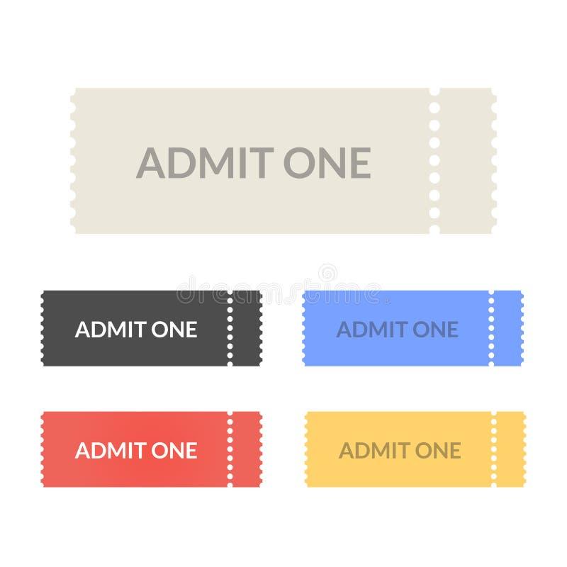 承认被设置的一张通行证票 库存例证