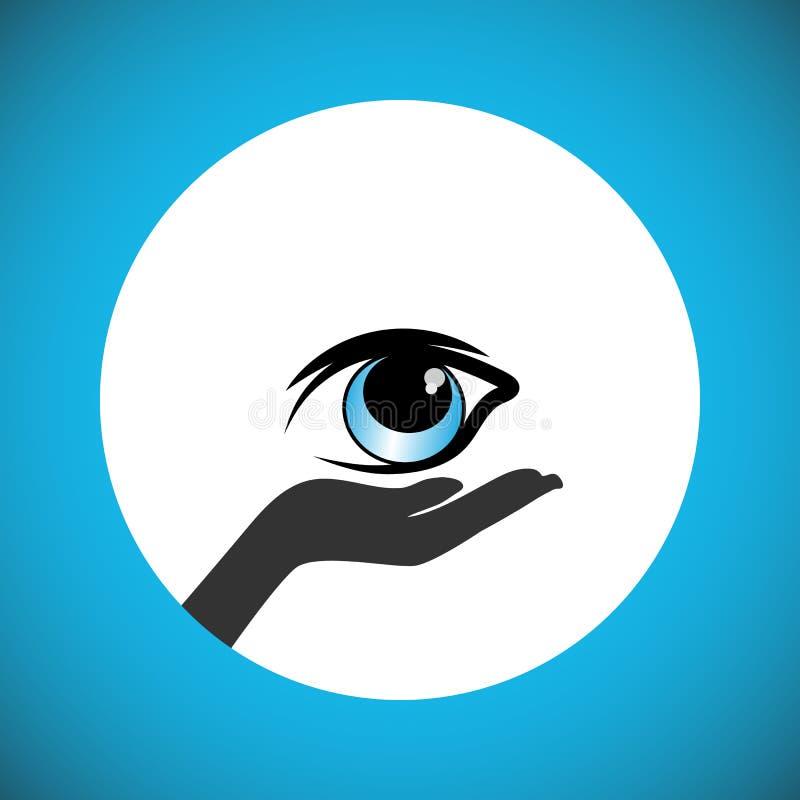 承诺在死亡以后捐赠眼睛和支持人民实现眼睛捐赠愿望  向量例证