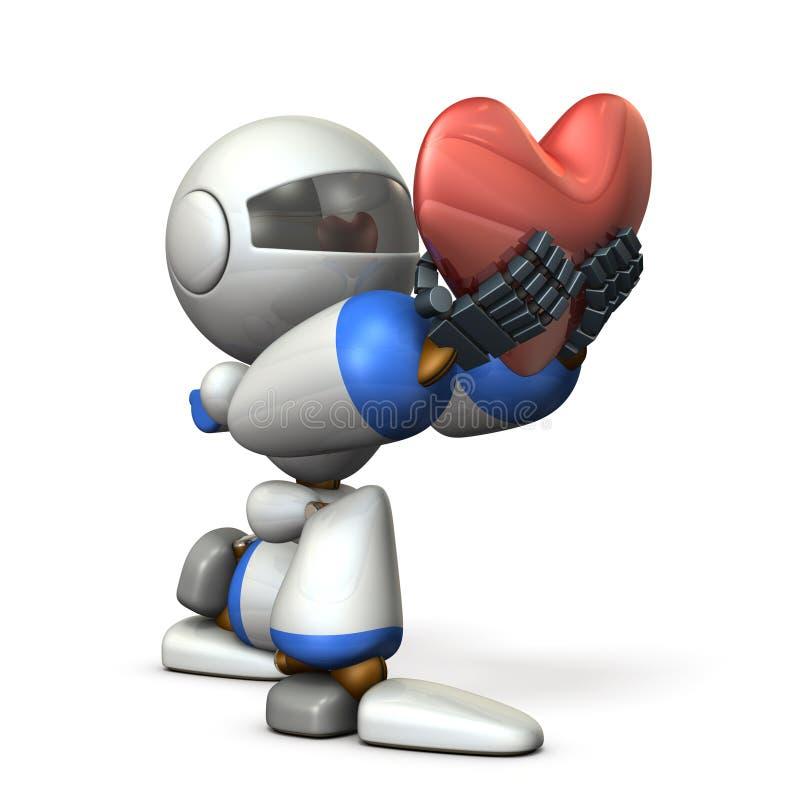 承诺忠诚表示真诚的一个逗人喜爱的机器人 向量例证