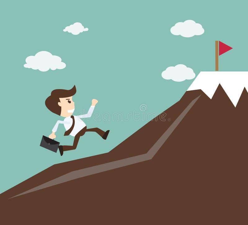 承诺概念-上升在山的商人 库存例证