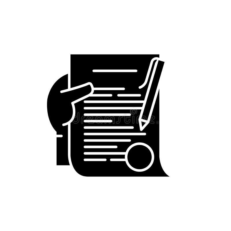 承诺黑色象,在被隔绝的背景的传染媒介标志 承诺概念标志,例证 向量例证