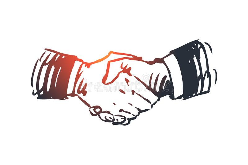 承诺,手,成交,事务,合作概念 手拉的被隔绝的传染媒介 向量例证