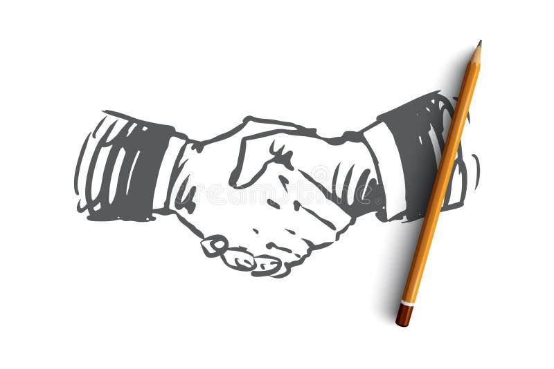 承诺,手,成交,事务,合作概念 手拉的被隔绝的传染媒介 库存例证