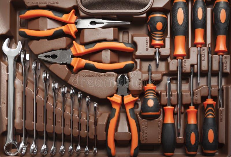 技工专业工具箱工具 免版税图库摄影