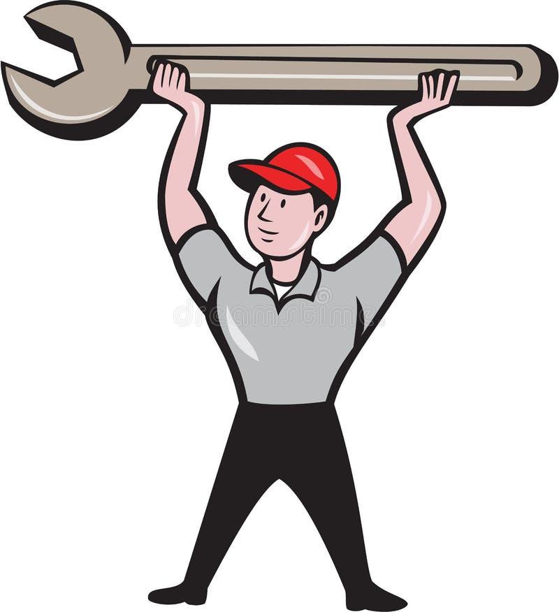技工举的板钳被隔绝的动画片 库存例证