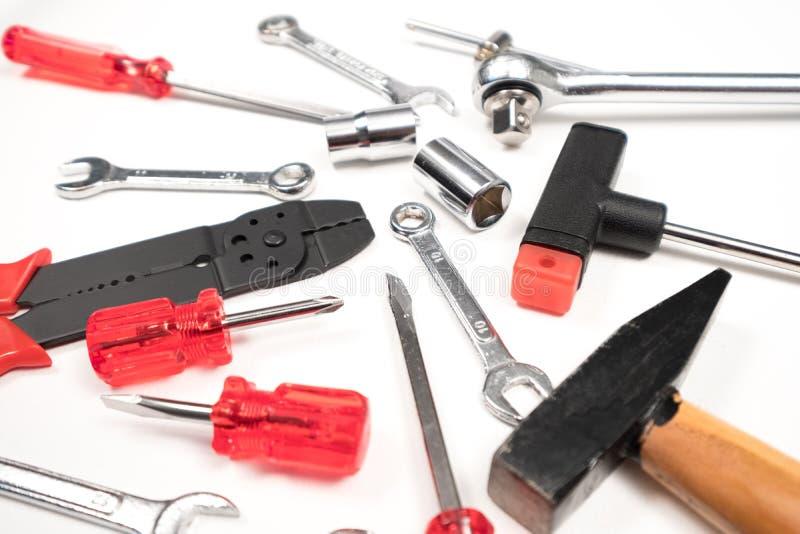 技工工具箱许多工作对工具 库存图片