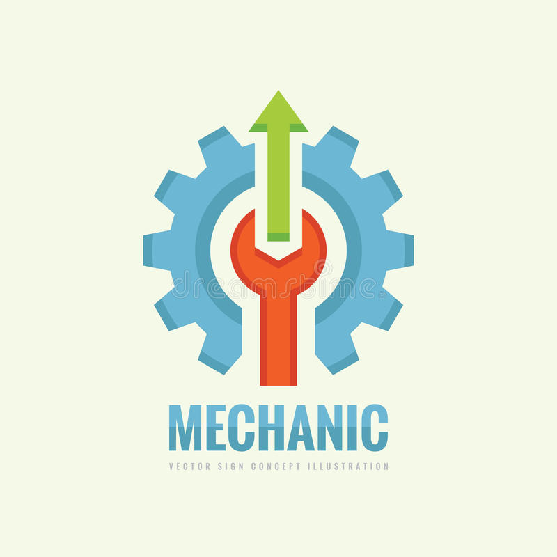 技工机器-导航企业商标模板概念例证 齿轮工厂标志 嵌齿轮轮子、板钳和箭头技术 库存例证