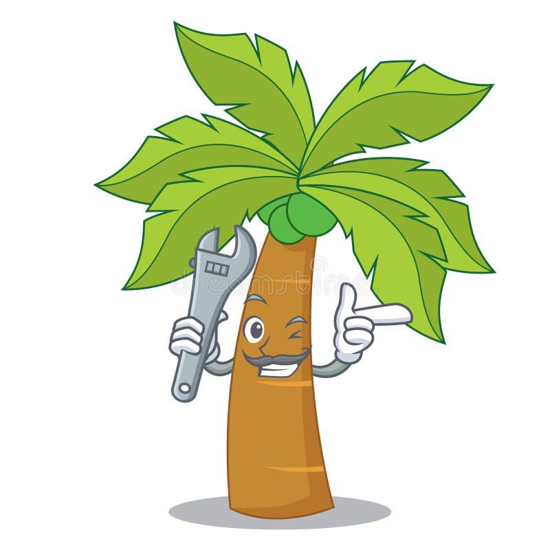 技工棕榈树字符动画片 皇族释放例证