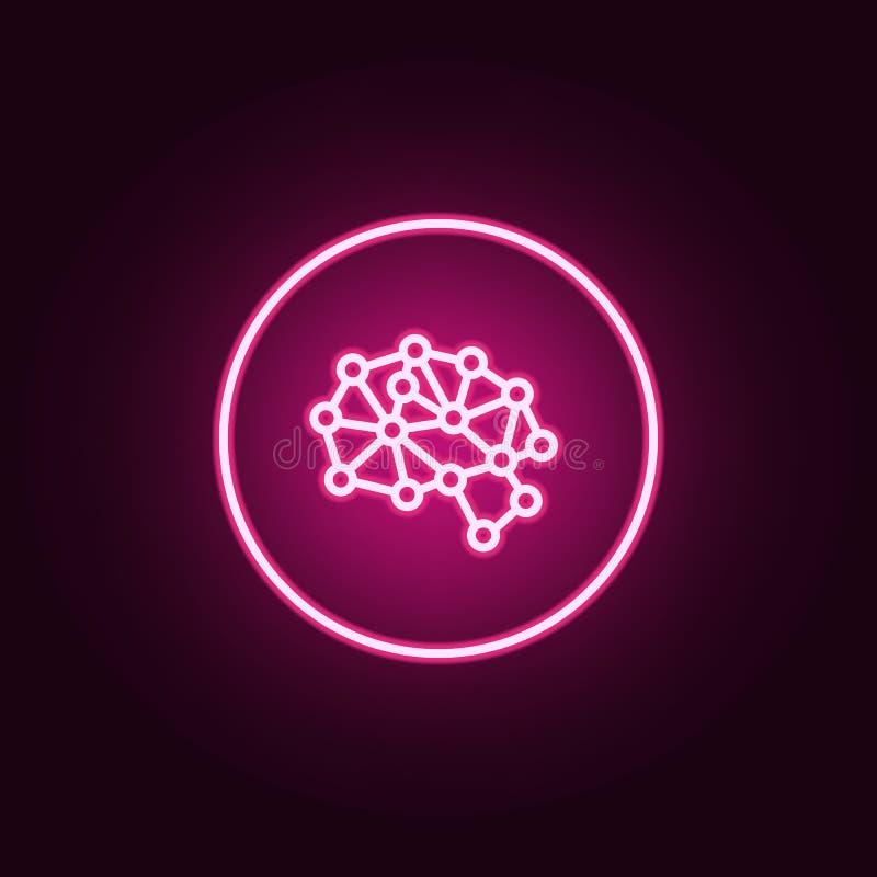 技工脑子聪明的霓虹象 人工智能集合的元素 网站的简单的象,网络设计,流动应用程序,信息 皇族释放例证