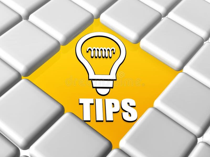 技巧和电灯泡标志在箱子 库存例证