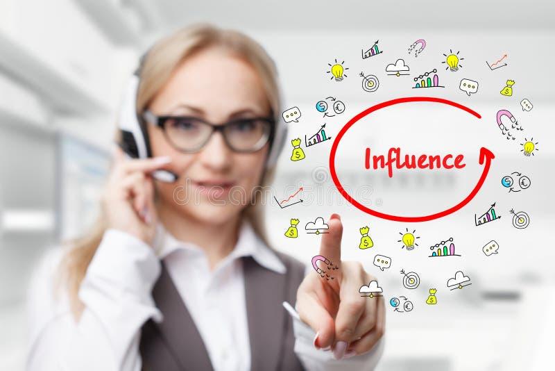 技术、互联网、事务和营销 年轻女商人文字词:影响 免版税库存照片