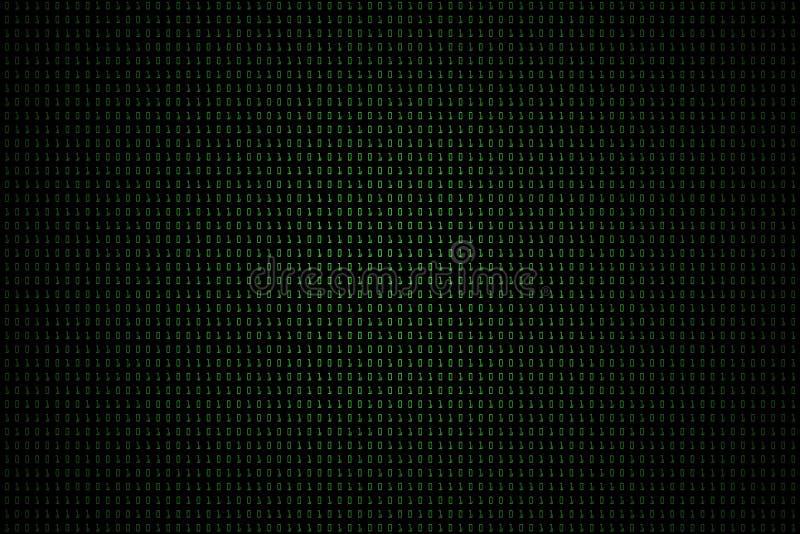 技术与二进制编码的数字黑暗或黑背景在浅绿色的颜色1001 库存例证