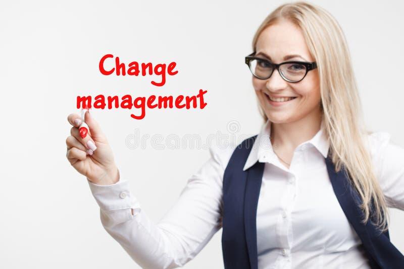 技术互联网事务和营销 年轻女商人文字词:改变管理 免版税库存照片