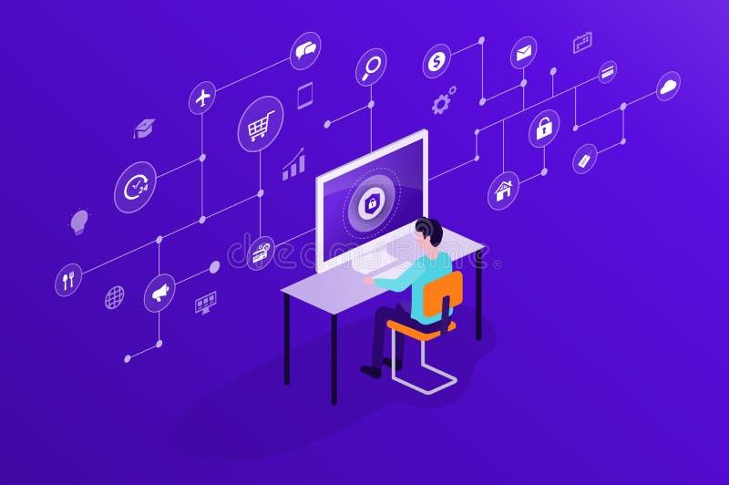 技术互联网网络安全和数据保密网上网络连接 向量例证