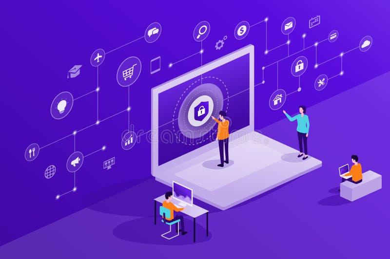 技术互联网网络安全和数据保密网上网络连接 皇族释放例证