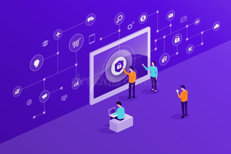 技术互联网网络安全和数据保密网上网络连接 库存例证