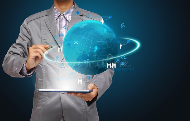 技术企业概念,网络处理信息绘制 皇族释放例证
