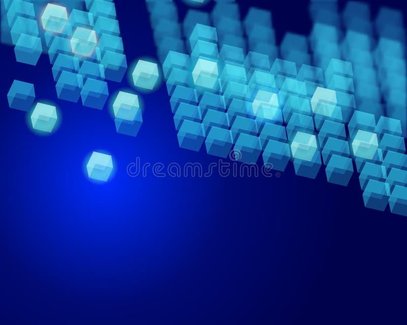 技术传染媒介背景小组白色飞行的立方体 库存例证