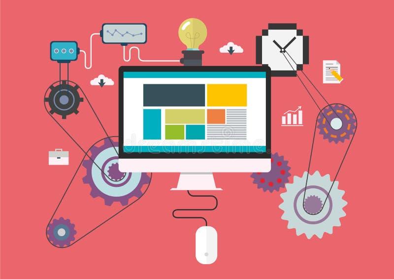技术创造性的图表设计师概念想法、设备或者计算机代表创造性的生产的一个机器, fl 向量例证