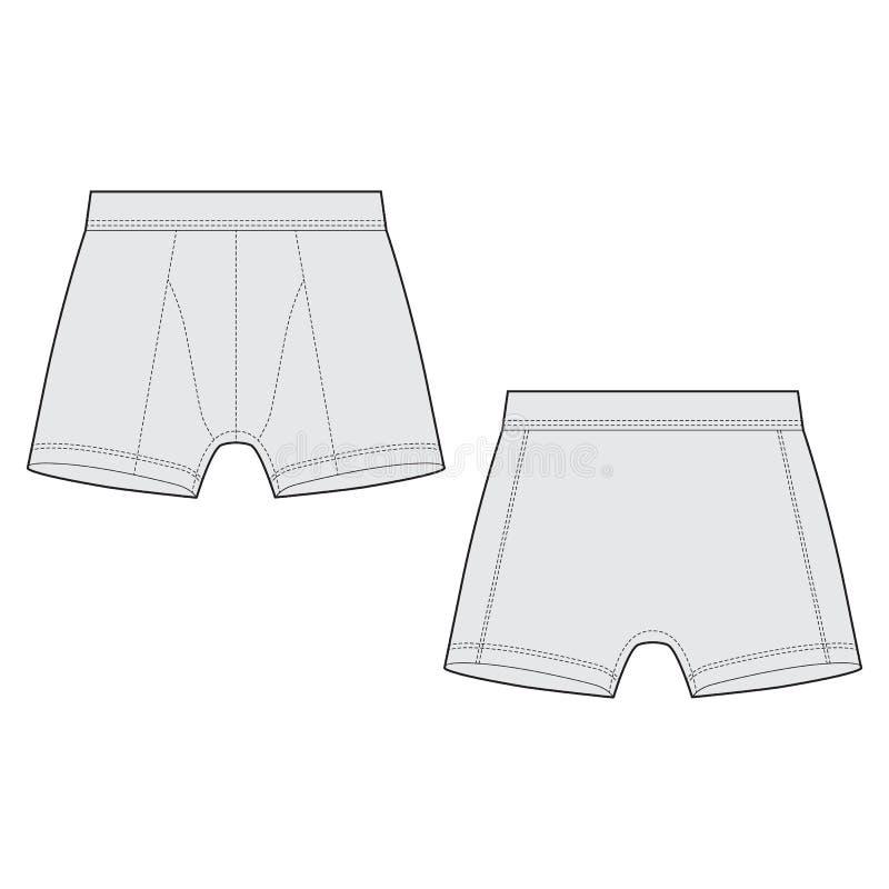 技术剪影拳击手短裤人内衣例证 皇族释放例证