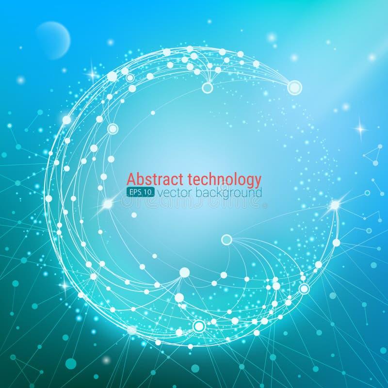 技术发展和通信 与小点和线的抽象未来派背景 也corel凹道例证向量 向量例证