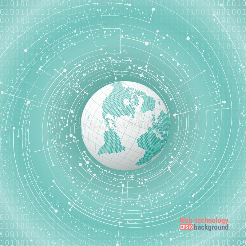 技术发展和通信 点和曲线修建了球形wireframe,感觉抽象例证 向量例证