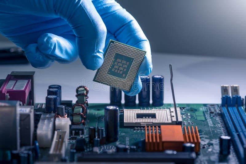技术员在计算机主板的插口放置CPU 计算机的概念,服务,电子,硬件, 免版税库存照片