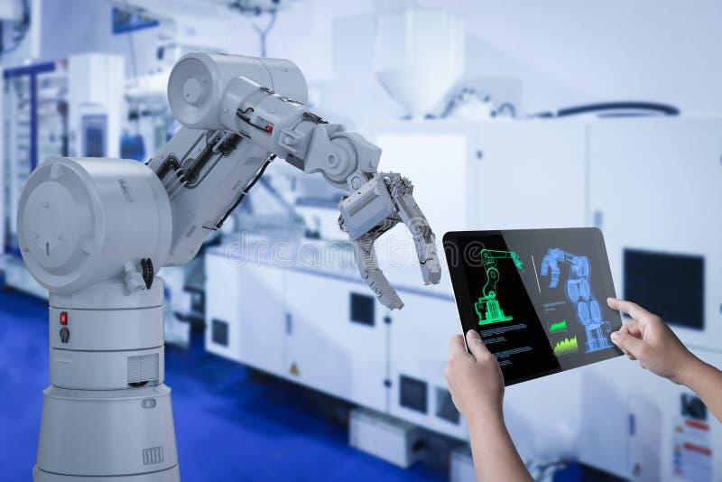 技术员控制机器人 皇族释放例证