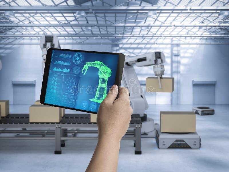 技术员控制机器人 向量例证
