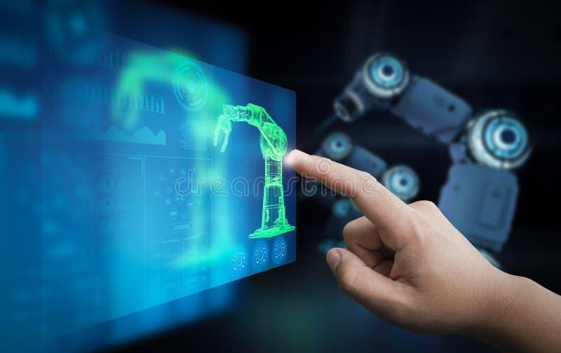 技术员控制机器人 库存例证