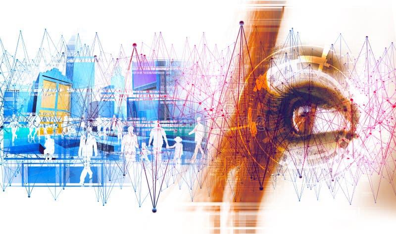技术和企业概念 网络和全球性通信 向量例证