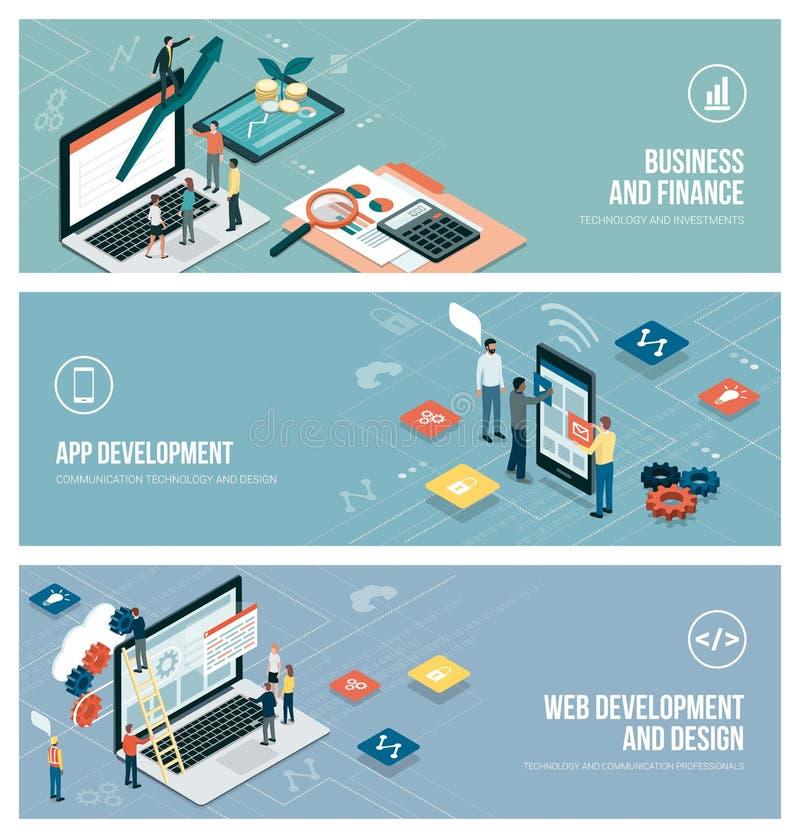 技术和商业 向量例证