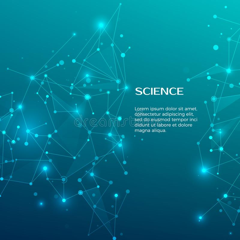技术和科学背景 抽象网和结 背景图表眼睛医疗验光师 结节原子结构 向量 向量例证