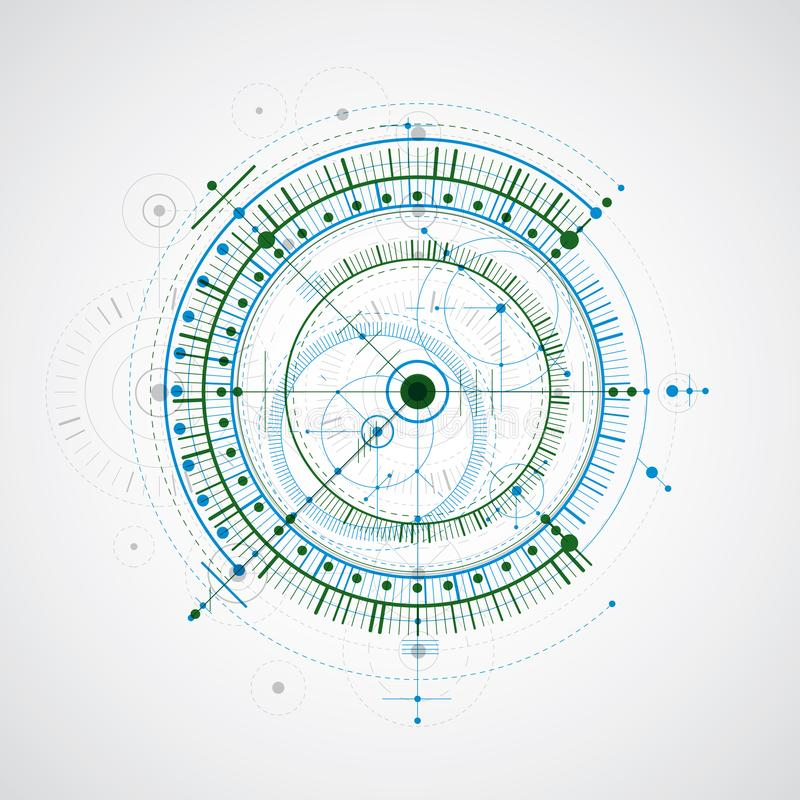 技术图纸,蓝色和绿色传染媒介数字式背景wi 向量例证