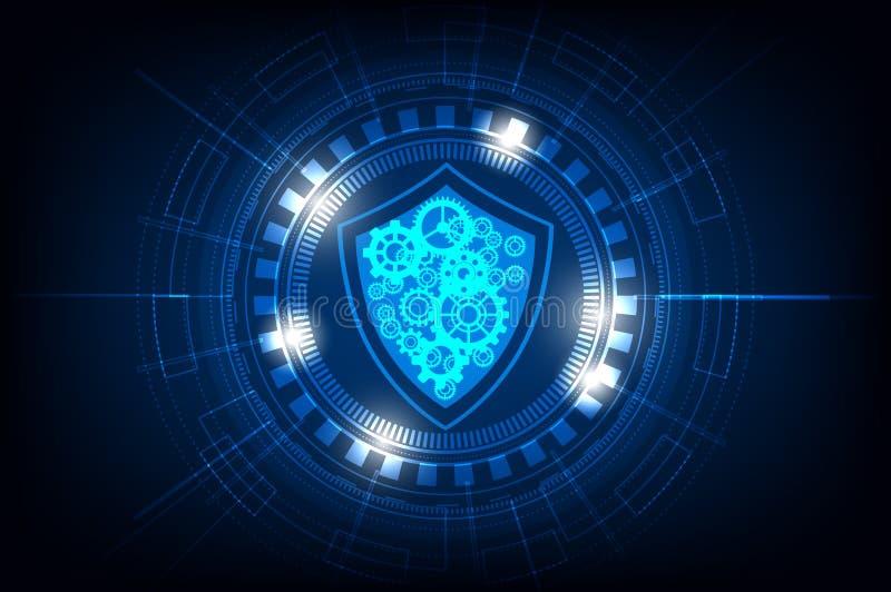 技术在蓝色背景,传染媒介例证的圈子以安全和齿轮 库存例证