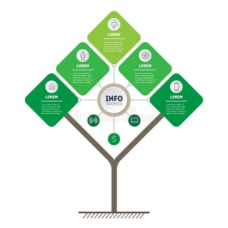技术或教育过程Infographic与5点的 树、信息图或者图模板  垂直的eco事务 向量例证