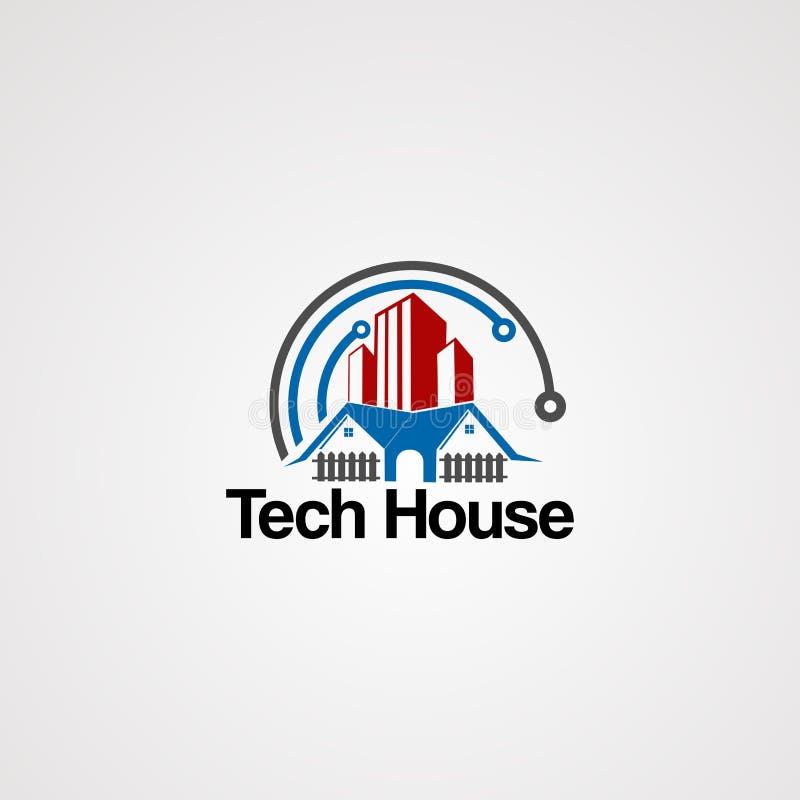 技术房子与红色不动产的商标传染媒介和现代概念、元素、象和模板公司的 向量例证