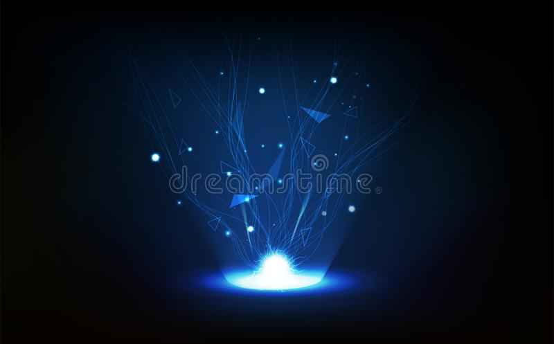 技术抽象背景,多角形,网络,线与闪电传染媒介例证的连接 向量例证