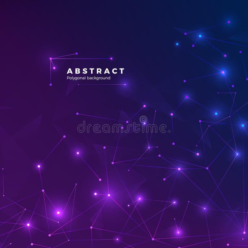 技术抽象背景 微粒,小点和连接由线 低多角形纹理 向量 库存例证