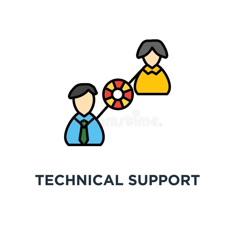 技术支持操作员以帮助客户象的lifebuoy尝试 商业客户关心服务概念标志设计,用户 库存例证