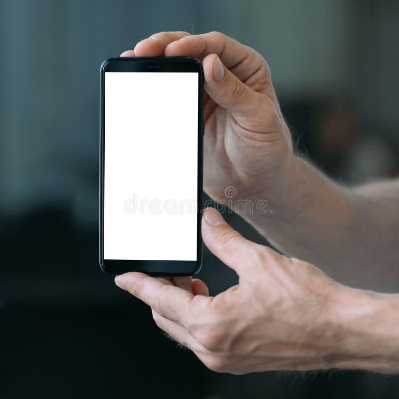 技术支持白色大模型智能手机屏幕 免版税库存图片
