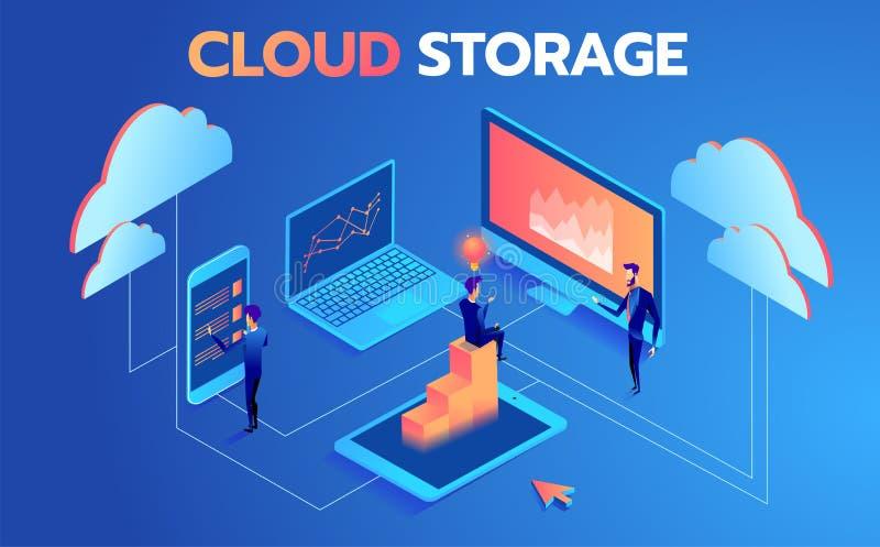 技术支持系统  互动与技术云彩存贮的人们集中 例证现代向量 向量例证