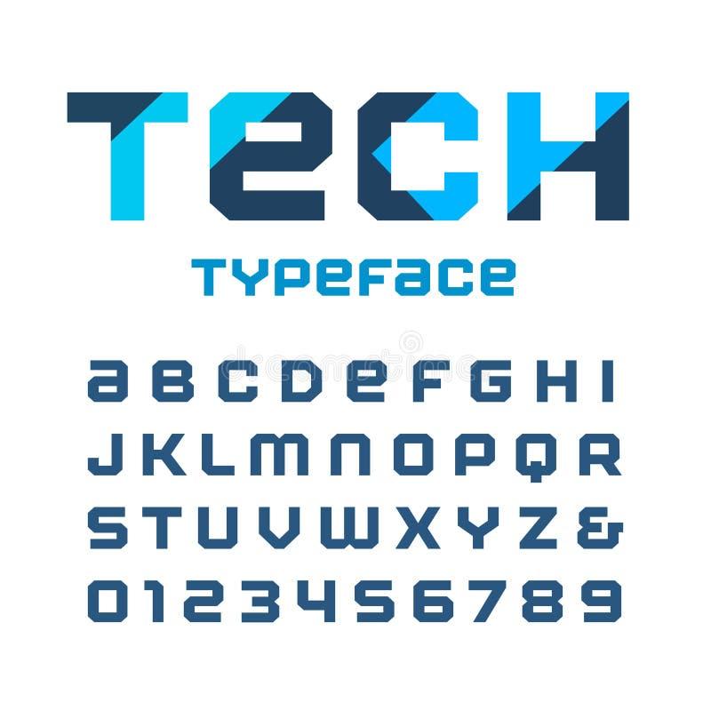 技术方形的字体 与拉丁字母和数字的传染媒介字母表 向量例证