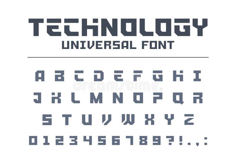 技术普遍字体类型 强,体育,未来派,未来techno字母表 皇族释放例证