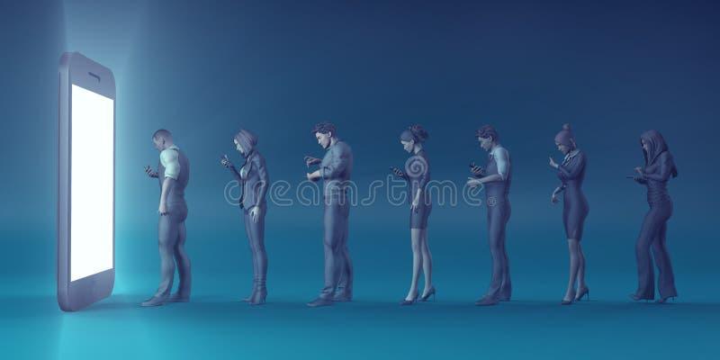 技术智能手机转动的人民到蛇神里 皇族释放例证